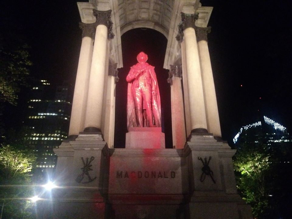 Maisonneuve and Macdonald Monuments vandalized: Anti-colonial artists and activists denounce British and French colonialism and genocide