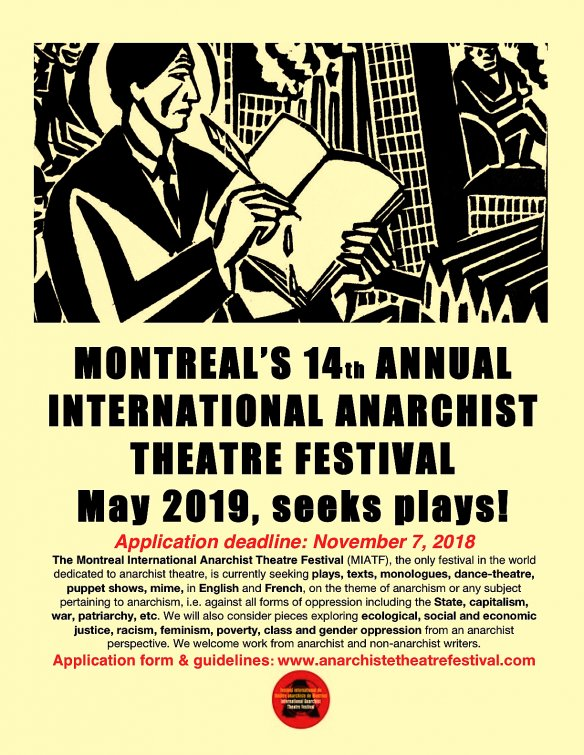 Montreal International Anarchist Theatre Festival: Only one week left...