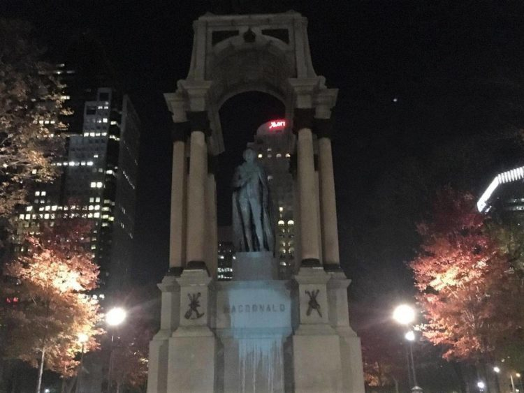 """Anti-colonial anarchists """"vote"""" by vandalizing John A. Macdonald & Queen Victoria statues, again"""