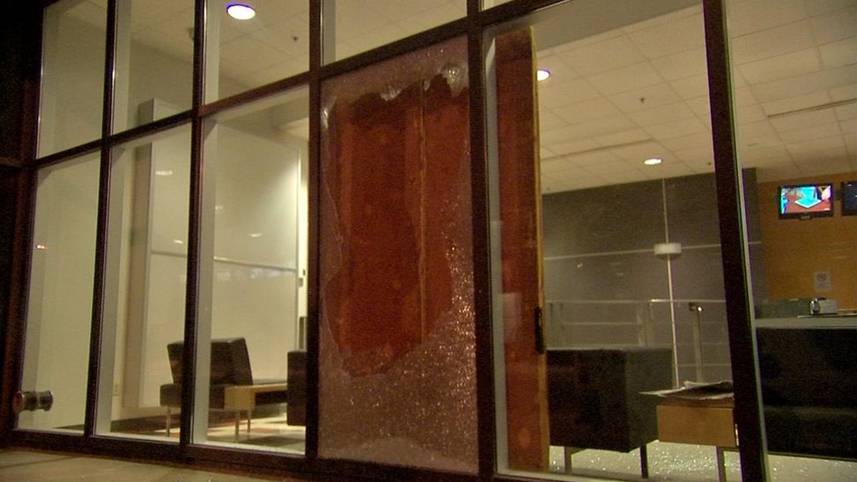 A Window Smashed at TVA after March 15th