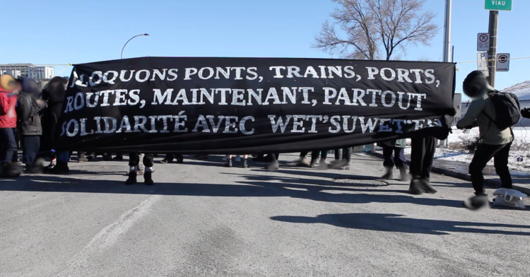 Solidarity Action with Wet'suwet'en Land Defenders Blocked Access to Port of Montreal
