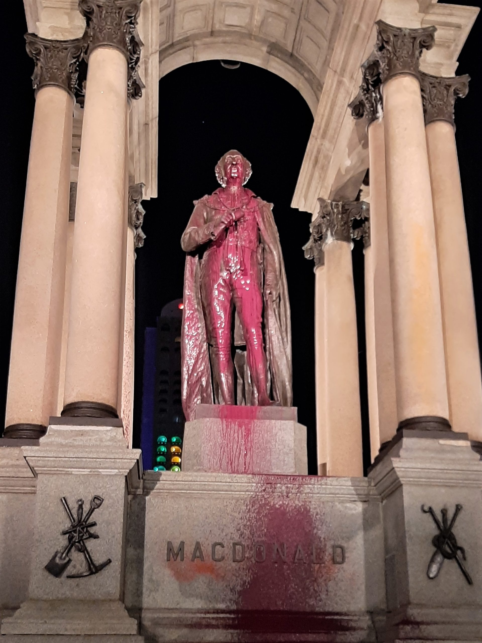 Racist John A. Macdonald Monument vandalized with paint