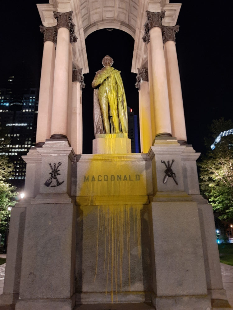 John A. Macdonald Statue in Montreal Vandalized with Paint (Again!)
