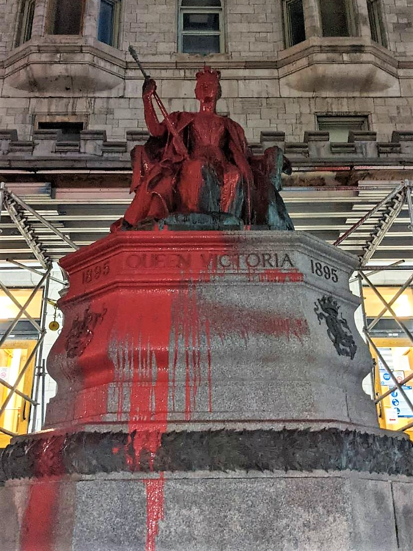 Queen Victoria Statue Vandalized with Red Paint After Curfew on Saint-Patrick's Day