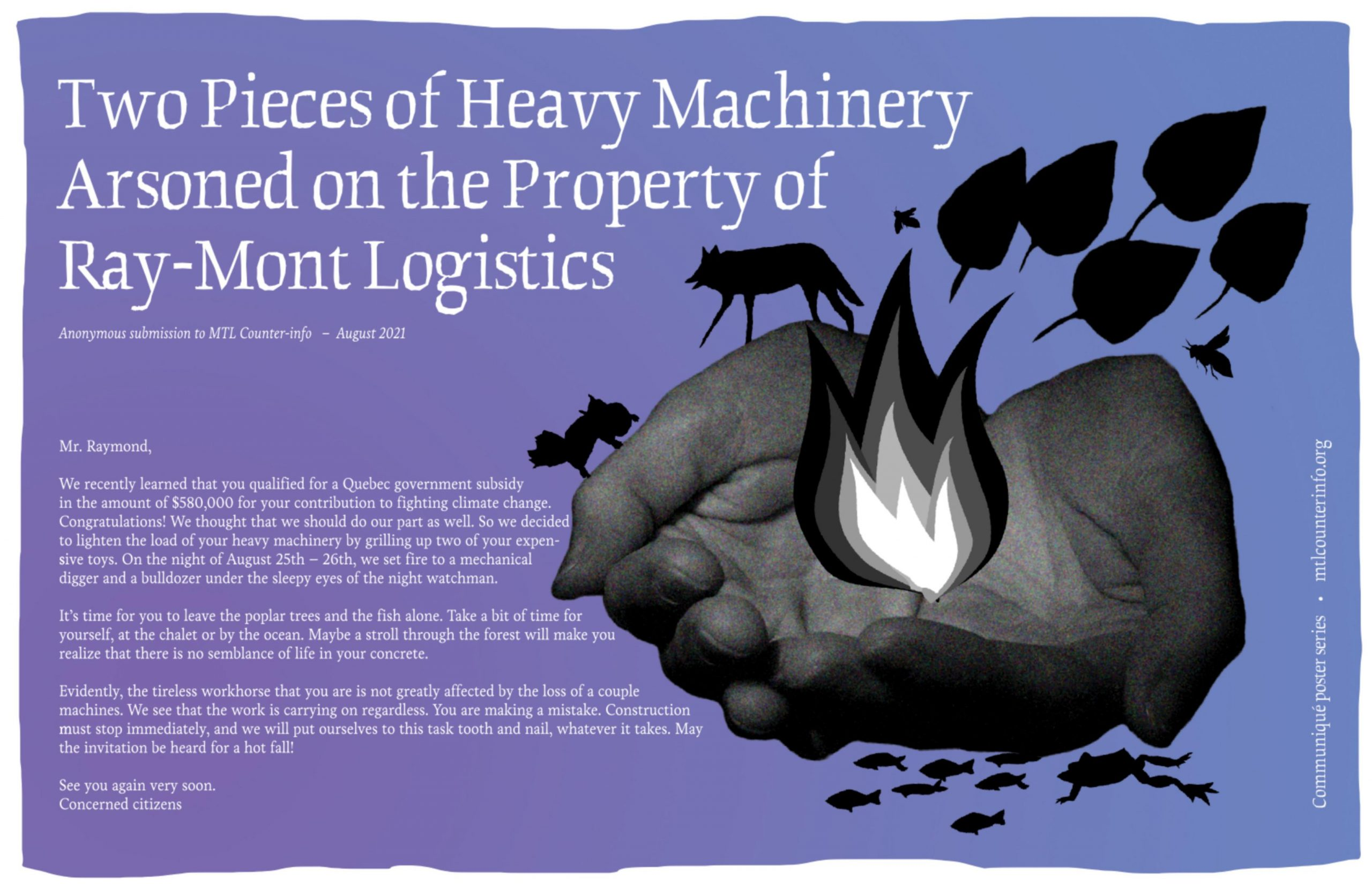 New Communiqué Poster: Heavy Machinery Arsoned on Property of Ray-Mont Logistics